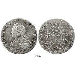France (Rouen mint), ecu, Louis XV, 1726-B.