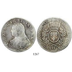 France (La Rochelle mint), ecu, Louis XV, 1726-H.