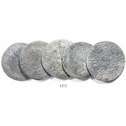Lot of 5 French ecus of Louis XV, various dates and mints (where visible).