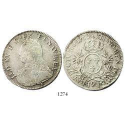 France (Rennes mint), ecu, Louis XV, 1733, mintmark 9.