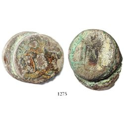 Clump of 2 bust 8 reales (probably Mexico, Charles III), encrusted as found.