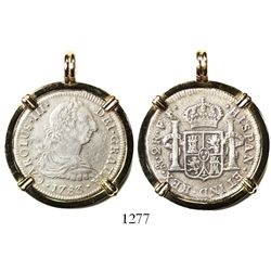 Mexico City, Mexico, bust 2 reales, Charles III, 1783FF, mounted in 14K gold pendant-bezel.