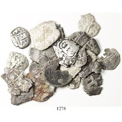 Lot of 22 Potosi, Bolivia, small silver cobs (4R, 2R and 1R) of Charles II through Charles III, vari