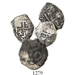 Lot of 4 cob 1R of Lima, Peru (1724 and 1749) and Potosi, Bolivia (1735 and 1749).