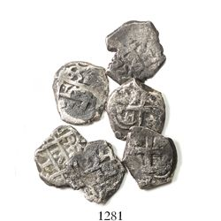Lot of 6 Potosi, Bolivia, cob 1R of Ferdinand VI and Charles III, various dates and assayers.