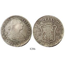 Seville, Spain, bust 8 reales, Charles IV, 1802CN.