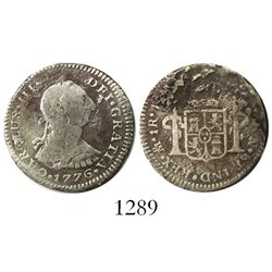Mexico City, Mexico, bust 1 real, Charles III, 1776FM, desirable date.