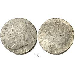 Madrid, Spain, 20 reales, Joseph Napoleon, 1810AI, large eagle in shield.