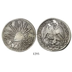 San Luis Potosí, Mexico, cap-and-rays 8 reales, 1833JS.