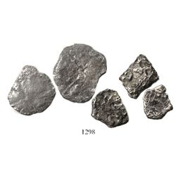 Lot of 5 silver-cob fragments from Fisher wrecks: Two from the Atocha (1622), one from the Santa Mar