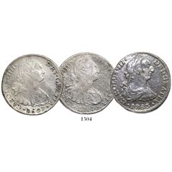 Lot of 3 Spanish colonial bust 8R from Spanish shipwrecks: 1783 Mexico from the Cazador (1784); 1797