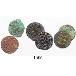 Lot of 6 (three pairs) of Dutch East India Co. copper duits from three different wrecks, one common