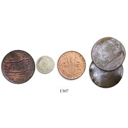 Lot of 5 coins (4 copper and 1 silver) from various 1800s-1900s wrecks, some rare, as follows: Admir