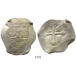 Mexico City, Mexico, cob 8 reales, Philip IV, assayer P (1650s-1660s).