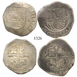 Lot of 2 Mexico City, Mexico, cob 4 reales, Philip II: assayer O to left, backwards S in legend; ass
