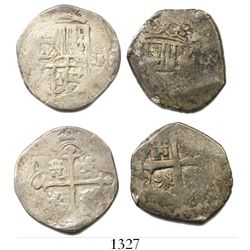 Lot of 2 Mexico City, Mexico, cob 2R, one Philip III and one Philip V, assayers not visible.
