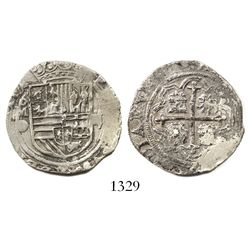 Mexico City, Mexico, cob 2 reales, Philip II, assayer O below mintmark oM to left.
