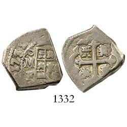 Mexico City, Mexico, cob 2 reales, 1732/1F, rare.