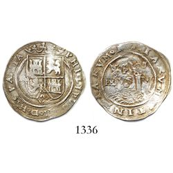 Lima, Peru, 1 real, Philip II, assayer Rincon, R to left, motto PL-VS-VL above dot, legends HISPANIA