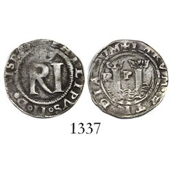 Lima, Peru, 1/2 real, Philip II, assayer Rincon, R to left, legends HISPAN / IARVM.