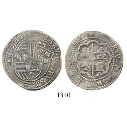 Lima, Peru, cob 4 reales, Philip II, assayer Diego de la Torre, P-4 to left, (*)-oD to right.