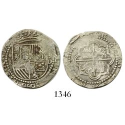 Lima, Peru, cob 1 real, Philip II, assayer Diego de la Torre, *-I to left, P-dot-D to right.
