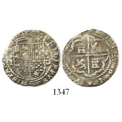 Lima, Peru, cob 1 real, Philip II, assayer Diego de la Torre, (*)-I to left, P-dot-D to right.