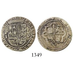 Lima, Peru, cob 1 real, Philip II, assayer Diego de la Torre, P-I to left, *-oD to right.