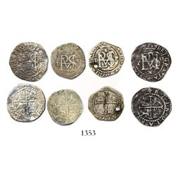 Lot of 4 Lima, Peru, cob 1/2R, Philip II, assayer Diego de la Torre, all different varieties.
