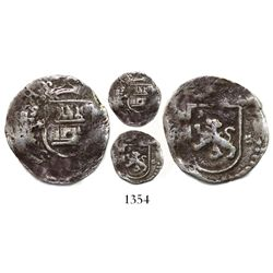 Lima, Peru, cob 1/4 real, Philip II, assayer Diego de la Torre, * to left of castle and * to right o