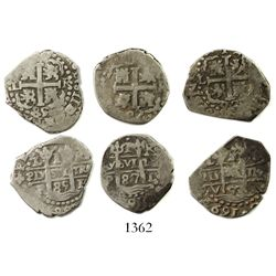 Lot of 3 Lima, Peru, cob 1R, various dates: 1685R, 1687R and 1693V.