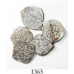 Lot of 5 Lima, Peru, cob 1/2 reales of Charles II and Philip V, various dates.