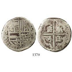 Potosi, Bolivia, cob 8 reales, Philip IV, assayer P (1622-1623).