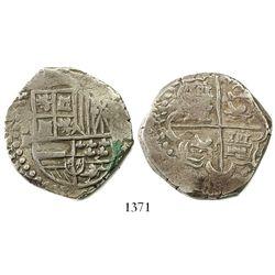 Potosi, Bolivia, cob 8 reales, Philip IV, assayer P (1624-1626).