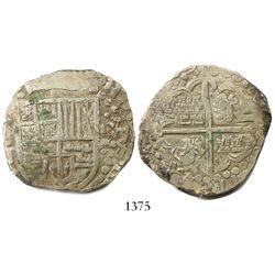 Potosi, Bolivia, cob 8 reales, (16)29T, denomination o-VIII, heavy-dot borders.