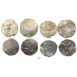 Lot of 4 Potosi, Bolivia, cob 8 reales, Philip III and IV, assayers T and P (where visible).