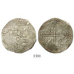 Potosi, Bolivia, cob 4 reales, Philip II, assayer B (3rd period).