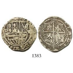 Potosi, Bolivia, cob 2 reales, Philip II, assayer B (5th period), borders of x's.