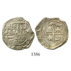Potosi, Bolivia, cob 2 reales, Philip II, assayer B (5th period).