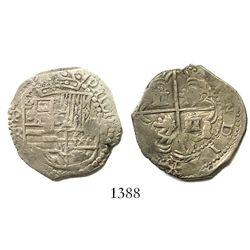 "Potosi, Bolivia, cob 2 reales, Philip III, assayer R (straight leg), ex-Herz (""Americas"")."