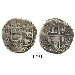 Potosi, Bolivia, cob 2 reales, Philip III, assayer C/Q, rare.