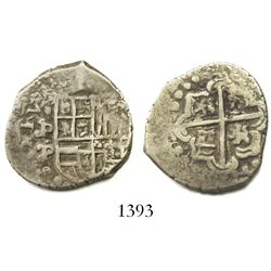 Potosi, Bolivia, cob 2 reales, Philip IV, assayer P (mid-1620s), quadrants of cross transposed.