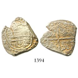 Potosi, Bolivia, cob 2 reales, Philip IV, assayer not visible (1620s), very overweight.
