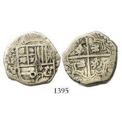 Potosi, Bolivia, cob 2 reales, Philip IV, assayer V (1646), rare.