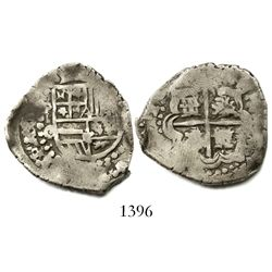 Potosi, Bolivia, cob 2 reales, Philip IV, assayer O (1649).
