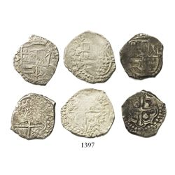 Lot of 3 Potosi, Bolivia, cob 2R of Philip IV, assayers T and P where visible.