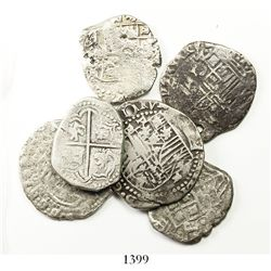 Lot of 6 Potosi, Bolivia, cob 2R, Philip II through Philip IV, various assayers (where visible).
