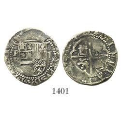 "Potosi, Bolivia, cob 1 real, Philip II, assayer B (1st period, ""Lima style"")."