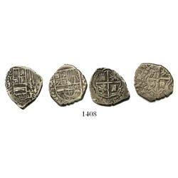 Lot of 2 Potosi, Bolivia, cob 1R of Philip IV, assayers T (ca. 1620) and E (1651-2).