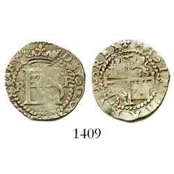 Potosi, Bolivia, cob 1/2 real, Philip II, assayer R (Rincon) to left, mintmark P to right.